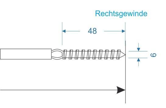 M022 Terminal mit Holzgewinde A4 (Rechtsgewinde)
