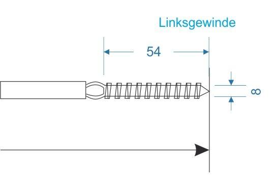 M023 Terminal mit Holzgewinde A4 (Linksgewinde)